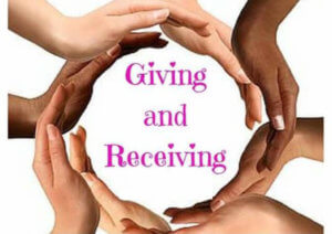 Hand encircles around giving and recieving
