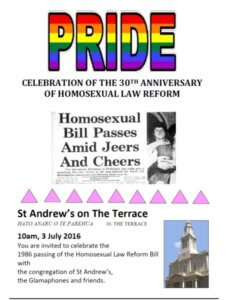 St Andrew's pride poster celebrating the 30th anniversay of the homosexual law reform