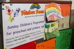 Notice board for the Sunday Children's Programme