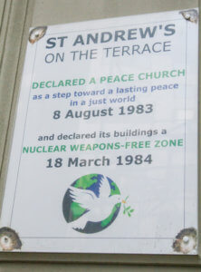St Andrew's peace plaque out side of the church. Declared a peace church 8 August 1983