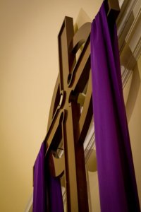 Cross with purple drape